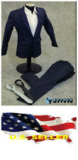 """❶❶1/6 clothes for 12"""" Male Figure dark Blue Color Suit Full Set SHIP FROM U.S.❶❶"""