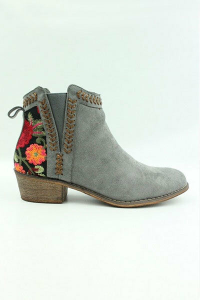58b3ca2e424 X X X Grau Floral EmbroideROT Booties Ankle Schuhes Suede Niedrig Heels  Stiefel Damens Flower eaaea9