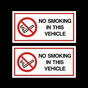 2x No Smoking in This Vehicle Stickers 120x60mm - Car Van Taxi HGV Vinyl Signs