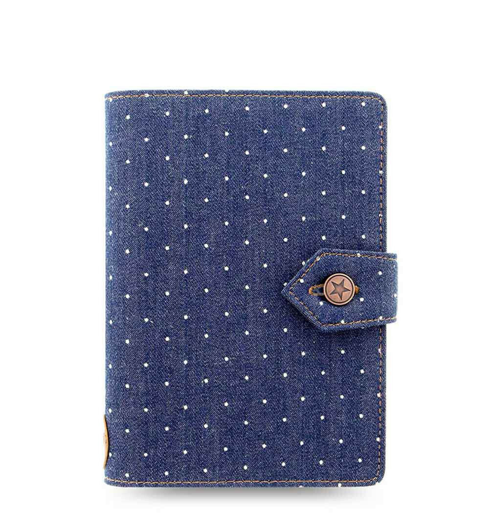 Filofax Personal Size Denim Dots Organiser Planner Notebook Diary Indigo -027035