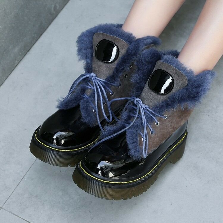 Womens Ladies Fashion Patent Leather Lamb Fur Lace Up Winter Snow Boots shoes
