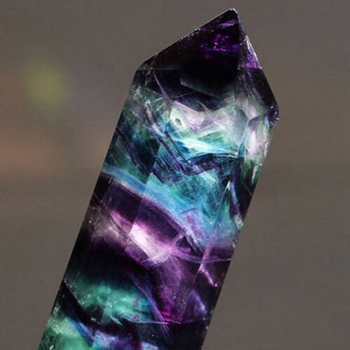 Natural Hexagonal Crystal Quartz Healing Fluorite Wand Stone Purple Green Gem Z0