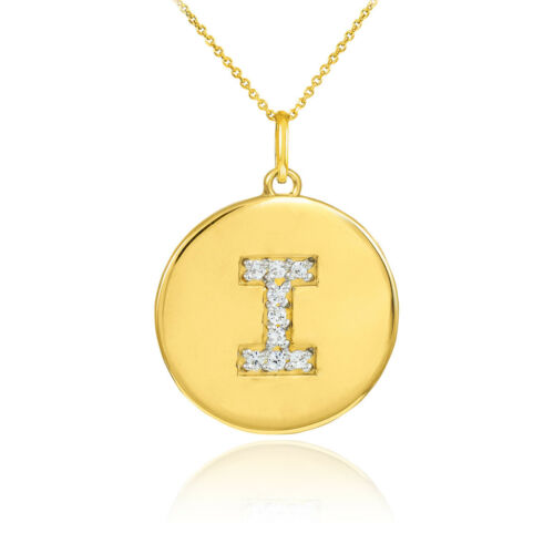 "10k Yellow Gold Letter /""I/"" Initial Diamond Disc Charm Pendant Necklace"
