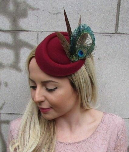 Burgundy Wine Red Pheasant Peacock Feather Pillbox Hat Hair Clip Fascinator 5487