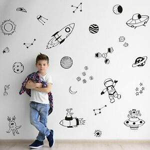 Space Doodles Wall Sticker Pack Black Space Themed Wall Stickers Ebay