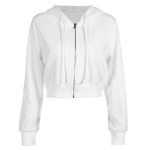 16bad4054a0 Details about UK Women Crop Tops Pullover Hooded Sweatshirt Long Sleeve  Jumper Cropped Hoodies