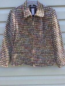 Women-s-SAG-HARBOR-Petite-Jacket-Long-Sleeve-Zipper-Front-Black-Multi-Size-10-P