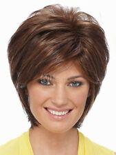 100% Echthaar Damen Perücke Mode Kurz Braun Menschliches Perücken Haarteil Wigs