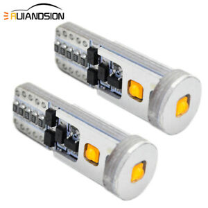 2pcs Yellow LED Light T10 Bulb 15W AC 12-24V 450lm Cree XBD Car Sidelight 3000K