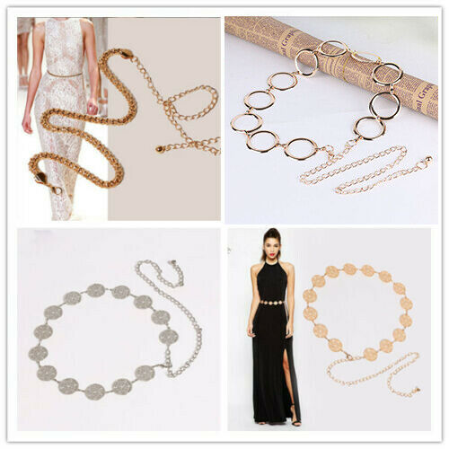 654 Gold Pearl Ladies Waist Chain Belt Fashion Accessory One Size Fits All