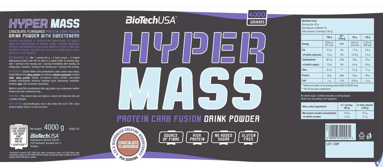 (11 23EUR kg) Biotech Biotech Biotech USA - Hyper Mass 4000g Dose 36686f