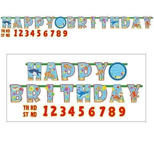 Amscan Ocean Buddies ajouter un âge heureux anniversaire Lettre Bannière 3.2 m x 23 cm