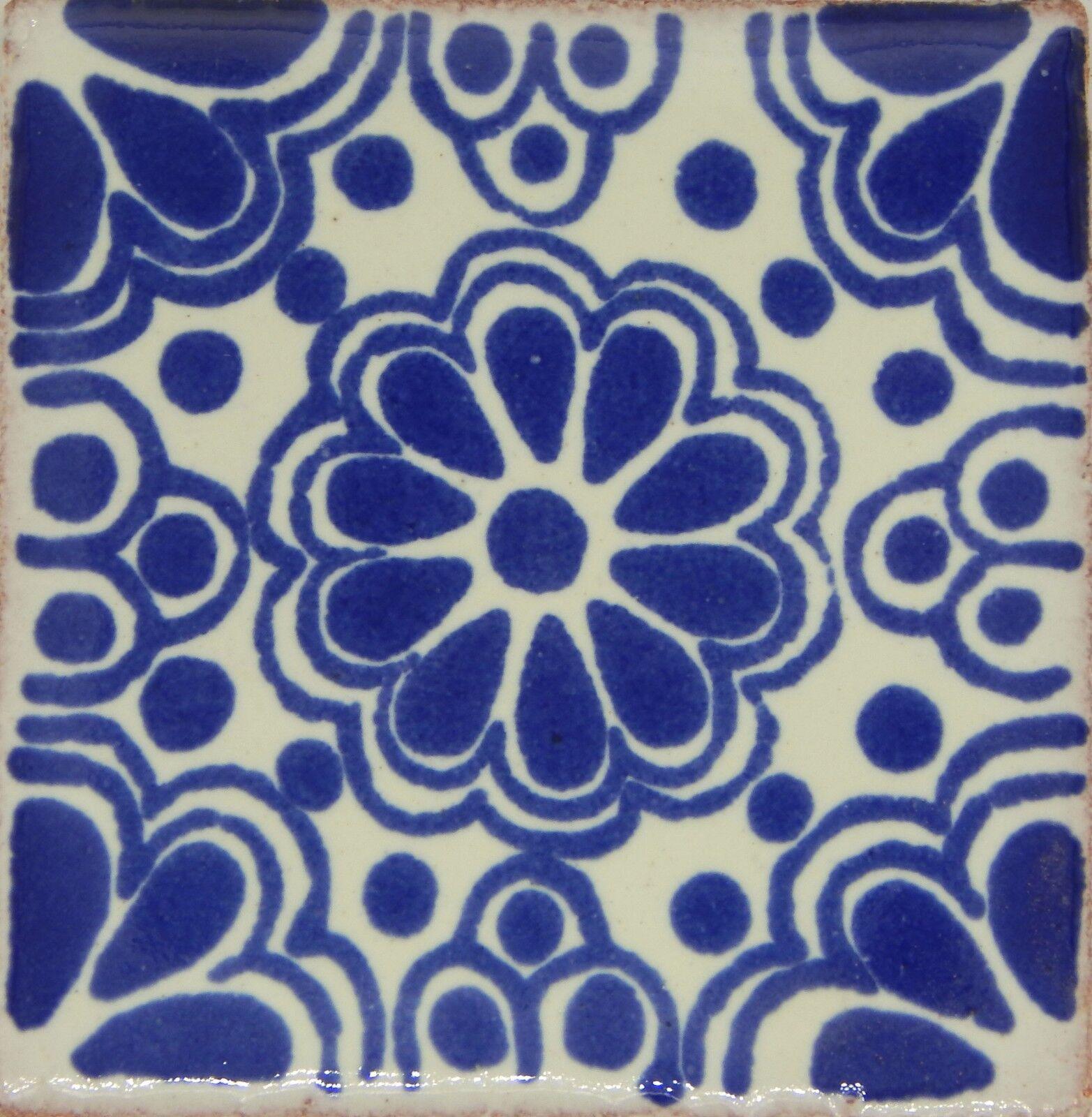 100 TILES Ceramic MEXICAN Talavera Handmade Tile 2x2 Clay Mexico Pottery  2-03