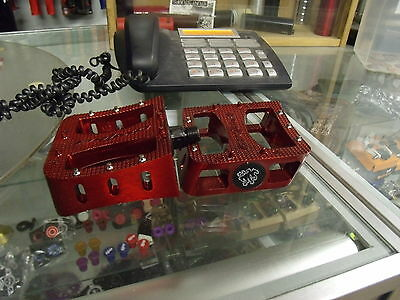 """PRIMO TENDERIZER ALLOY 1/2"""" 3-PIECE CRANK RED BMX BICYCLE PEDALS"""