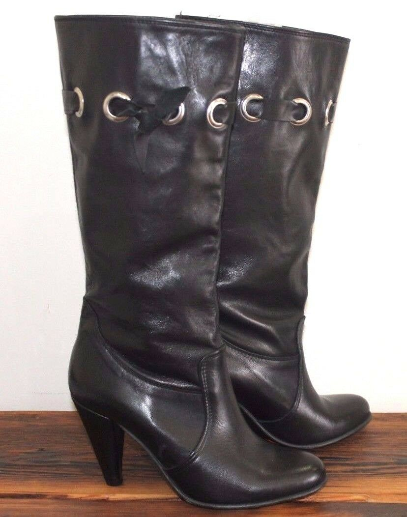Barely Worn Black Soft Leather Heeled Boots Women's Size 38 US 7.5 EUC
