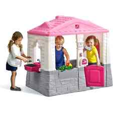 Kids Plastic Playhouse Cottage Pink Children Indoor Outdoor Play House Girls Kit