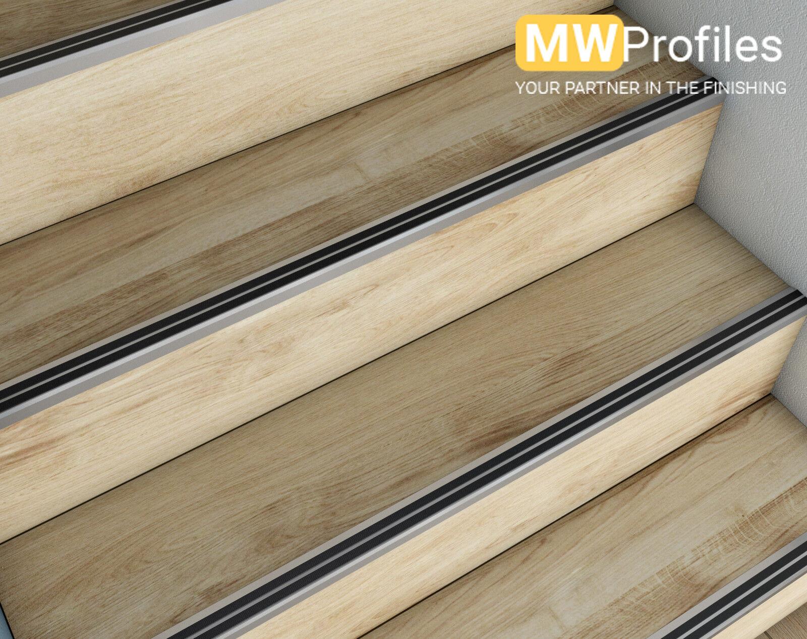 15 x  Aluminium Stair Nosing Edge Trim Step Nose Edging Nosings Carpet  36x19 mm