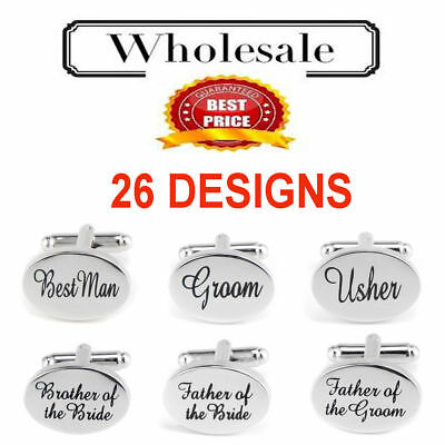 Silver Engraved Custom Cufflinks Cuff /& Links Gift Wedding Personalised Usher