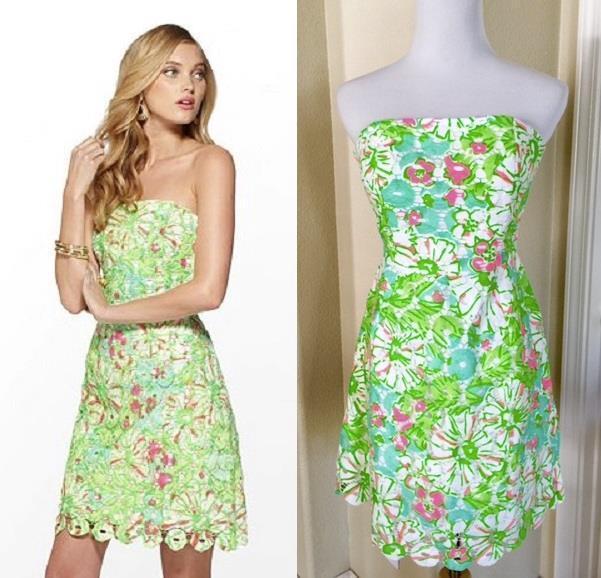 NEW  328 Lilly Pulitzer Rana SAND BAR blueE Splish Neon Green Lace Dress 0 2 XS