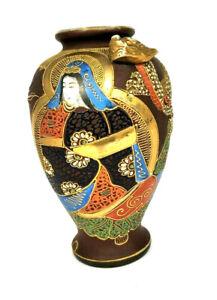 Japanese Moriage Dragon Hand Painted Satsuma Textured Vase Japan