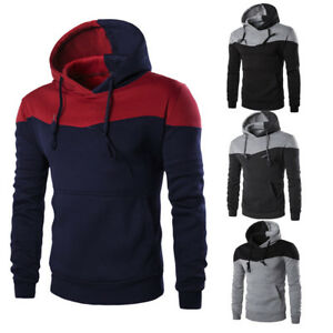 Men-039-s-Winter-Slim-Hoodie-Warm-Patchwork-Pockets-Sweatshirt-Jacket-Outwear-CoatCA