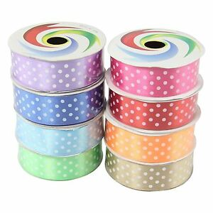 25mm Polkadot Shiny Satin Ribbon Craft Polka Dot Spotty Dotty Dots Fabric