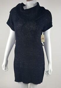 L-E-I-Womens-Juniors-Size-Small-Black-Shimmery-Sweater-Dress-Short-Sleeve-NWT