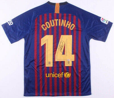 hot sale online 0acaa 41c49 Philippe Coutinho Signed FC Barcelona Nike Jersey Soccer Football  Autographed | eBay