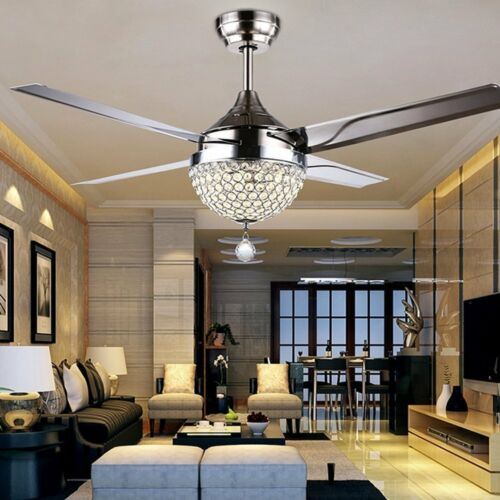 """44/"""" Stainless Steel Crystal Ceiling Fan Light Lamp LED Chandeliers Home Decor"""