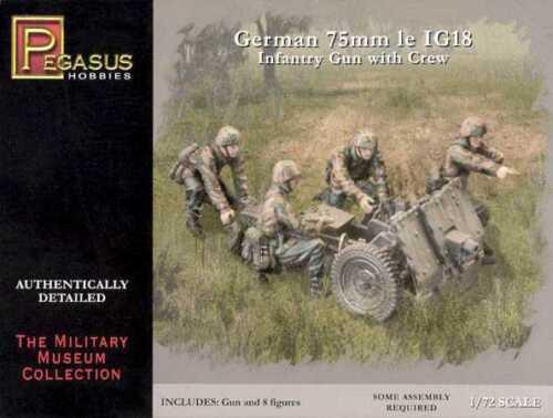 GERMAN 75mm IG18 INFANTRY GUN w// CREW PEGASUS 1//72 PLASTIC FIGURES