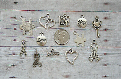 10x Ribbon Hope Awareness Charms for Bracelets Necklace Pendants with Meaning