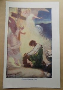 Antique-Book-Print-Plate-1940s-Pilgrims-Progress-Christian-before-the-Cross