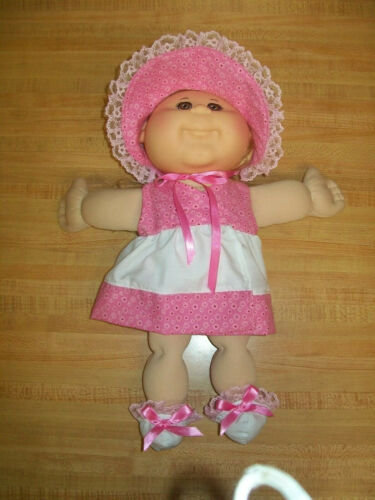 """5 pc dress bonnet panty booties set for 14 or 15/"""" CPK Cabbage Patch preemie baby"""