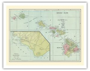 image about Printable Map of Hawaiian Islands called Information and facts over Hawaiian Islands Sandwich Islands Harbor of Honolulu 1899 Basic Map Artwork Print