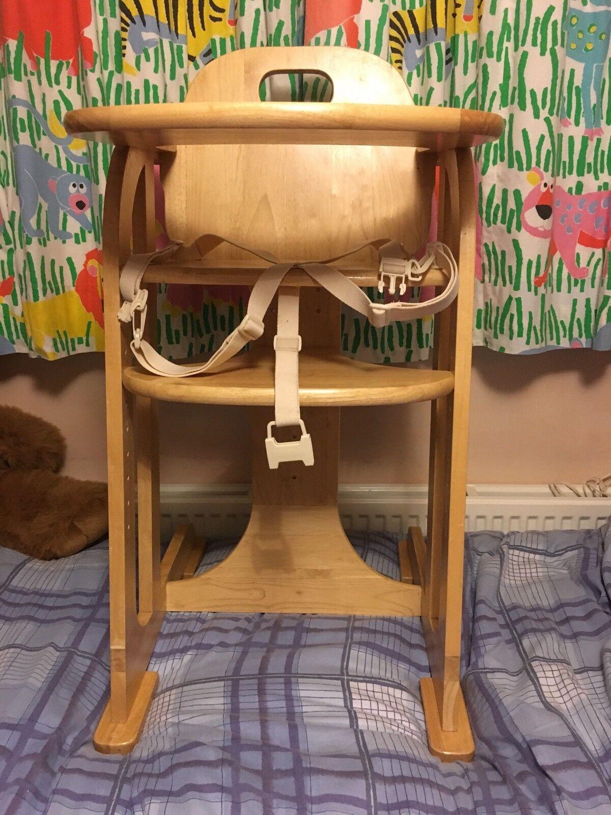 East Coast Nursery Multi Height Natural Wooden Highchair  Natural
