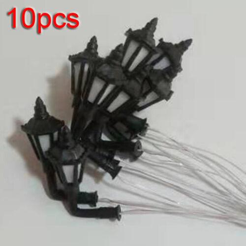 10 Pcs HO Scale 1:100 Model Street Lights Railway 3V LED Lamppost Wall Lamp Kits