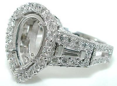 2 CT PEAR VENETIAN Diamond MOUNTING Ring Setting 18K White Gold