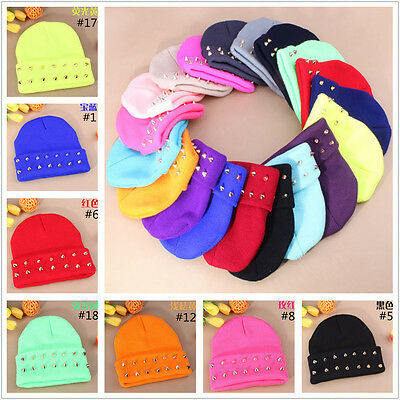 FREE Harajuku Beanies rivet rolled edge knitting wool Ski cap candy hats 18color