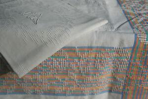 1 Nappe Ancienne , Monogramme Dj /n°238 ,coton, Vintage, 204x147cm Vente D'éTé SpéCiale