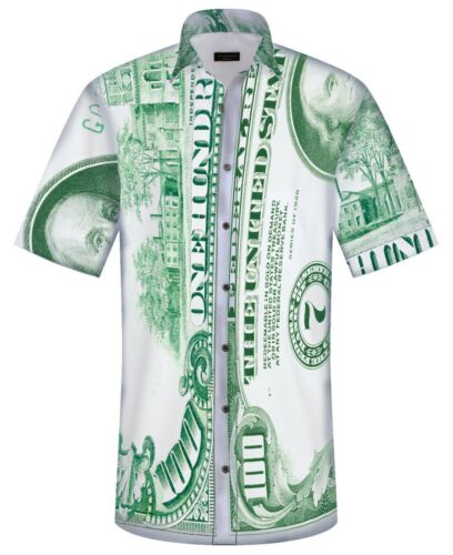 NEW MENS BIG BANK 100 DOLLAR BILL PRINT FAN CASUAL COLLAR SHIRT BY OVN