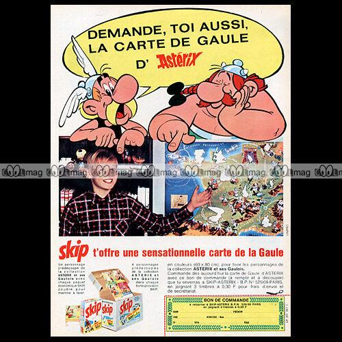Ad #A13 ASTERIX /& LESSIVE SKIP Uderzo /'La Carte de Gaule/' 1966 Pub Publicité