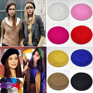d463e655 Womens Plain Beret Hat Soft Wool French Beret Winter Autumn Warm ...
