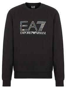 EA7-Emporio-Armani-7-Felpa-Uomo-Nero-Girocollo-Logo