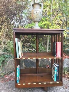 Antique-Edwardian-Oak-Revolving-Library-Bookcase-Enamel-Indexed-Numbered-Plaques