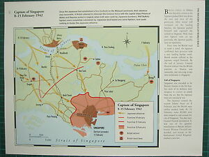 Details about WW2 WWII MAP CAPTURE OF SINGAPORE 8-15 FEB 1942 ADVANCES  FRONT LINE NAVAL BASES