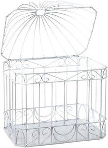 White Birdcage Wedding Gift Card Holder Wishing Well : ... Wedding-Shower-Reception-Bird-Cage-Gift-Card-Holder-White-Box-Wishing