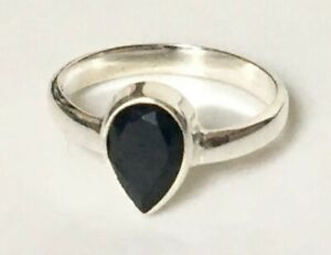 925-Sterling-Silver-Black-Onyx-Ring-Gemstone-Teardrop-Pear-Stack-Size-6-7-8-9