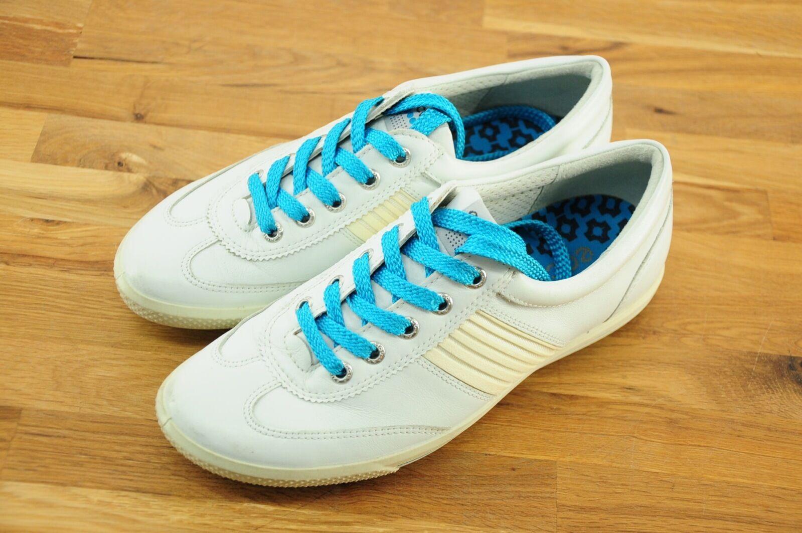 sports shoes ab338 3f437 EUC ECCO Weiß Weiß Weiß Leather Fashion Comfort Walking Turnschuhe Blau  Laces Sz 37EU 9219a9