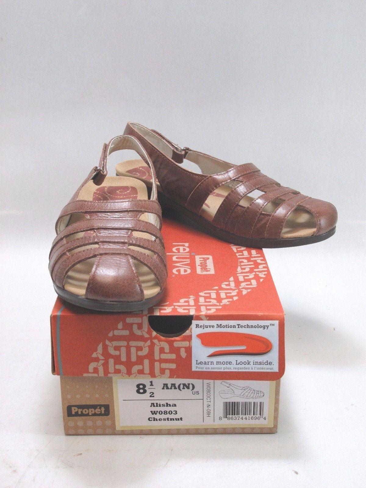 PROPET Damenschuhe ALISHA Braun Woven Leder Slingback Pump Sandale Sz 8.5
