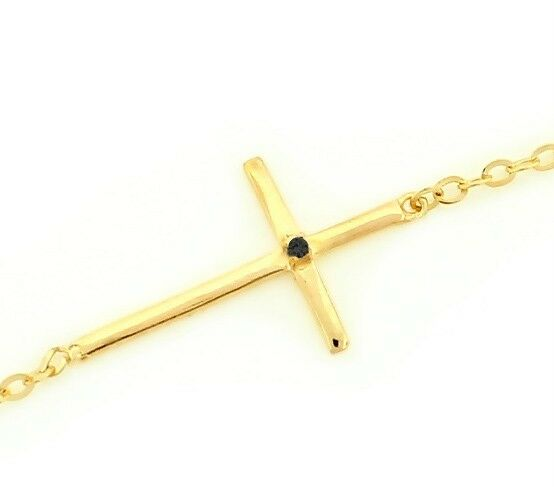 Sterling Silver Black Diamond Cross Bracelet Yellow Gold Plated .925 Adjustable